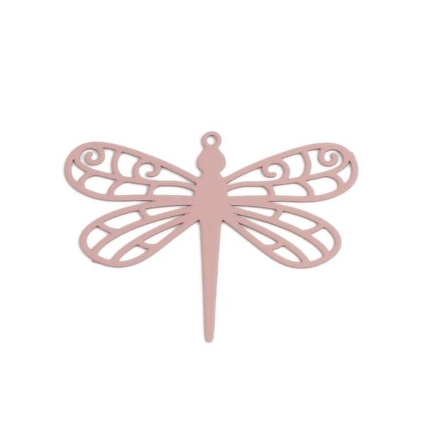 PS110216731 PAX de 5 Estampes pendentifs filigrane Libellule 35mm Vieux Rose - Photo n°1