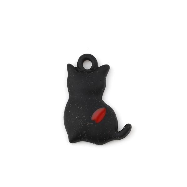 PS11716807 PAX de 4 Estampes pendentifs Chat style emaillé Noir 16mm - Photo n°1