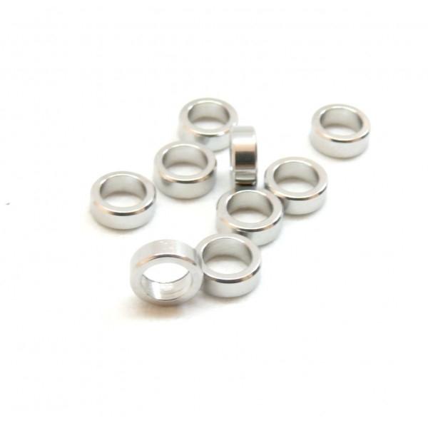 HP23201P PAX 10 Perles intercalaires 6 par 2mm en Acier Inoxydable 304 Coloris Argent pour bijoux r - Photo n°1