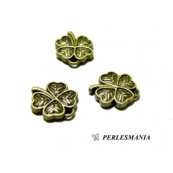 10 pendentifs trèfles 3D ref 209 Bronze fournitures pour bijoux - Photo n°1