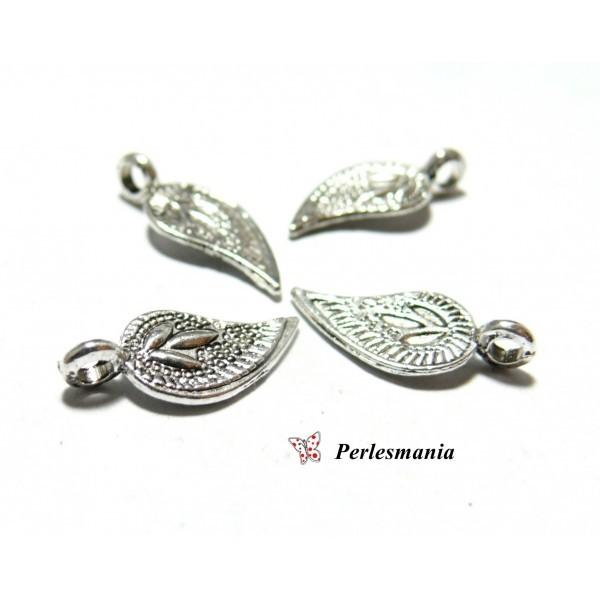 20 pieces pendentifs feuille viel argent ref 2B4336 pour création de bijoux - Photo n°1