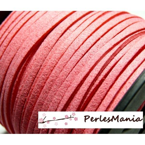 Lot de 5 mètres de cordon en suédine aspect daim Suédine rose bonbon Ref 1144 - Photo n°1