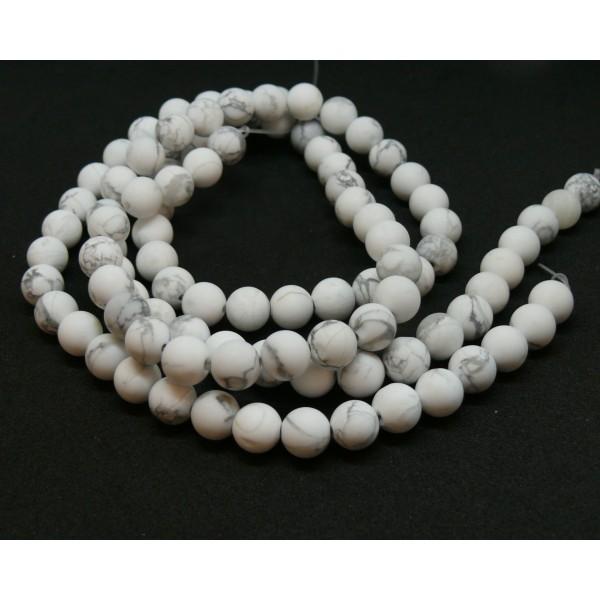 H11D696 1 fil d'environ 48 perles 8mm Howlite Blanc Gris veiné effet GIVRE - Photo n°1