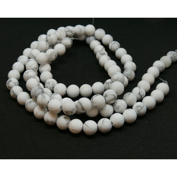 H11D696 1 fil d'environ 60 perles 6mm Howlite Blanc Gris veiné effet GIVRE - Photo n°1