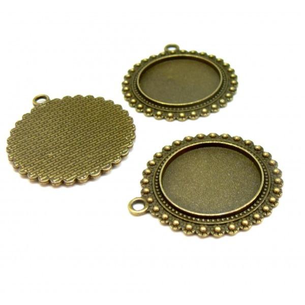 H4914 PAX de 10 supports de pendentif ARTY Fleur avec Picots métal coloris Bronze 25mm - Photo n°1