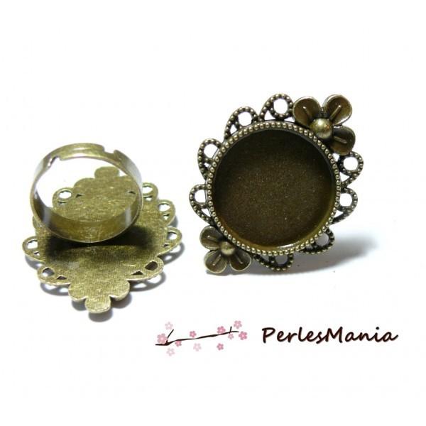5 supports de bagues ARTY Fleurs qualité 20mm BRONZE P3910 materiel pour création de bijoux - Photo n°1