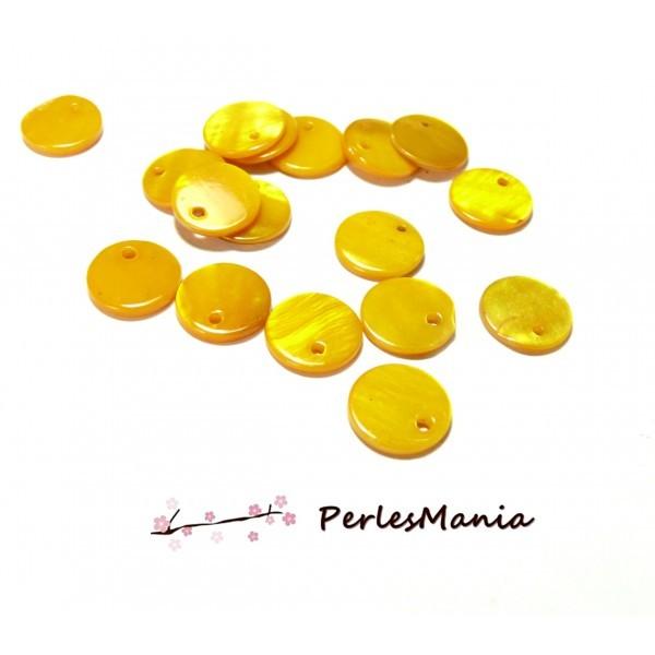 Q014A001 PAX 25 Perles Pendentifs Nacres Pastilles Rondes 13mm Jaune - Photo n°1