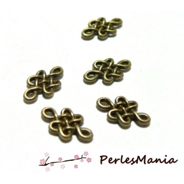 10 Pendentifs connecteur Noeud coréen metal couleur Bronze ref 67 - Photo n°1