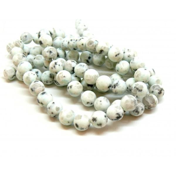 H11Q462 1 fil d'environ 47 perles 8mm Jaspe Kiwi effet GIVRE coloris 17 - Photo n°1