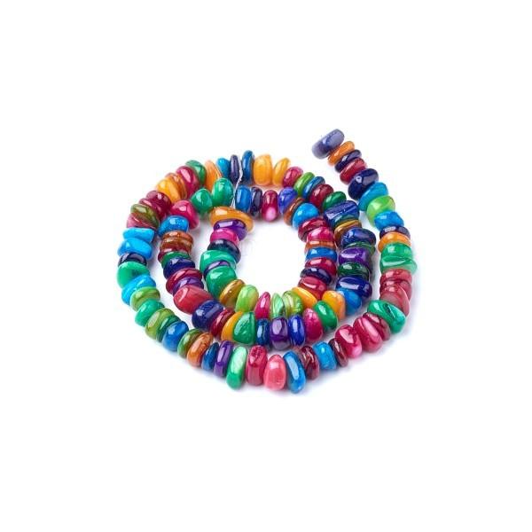 HQ00896 1 fil de 110 perles nacre teintées différentes tailles coloris multicolores - Photo n°1
