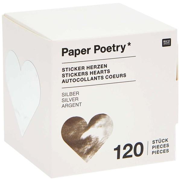 Stickers - Coeur - Argent - 5 cm - 120 pcs - Photo n°3
