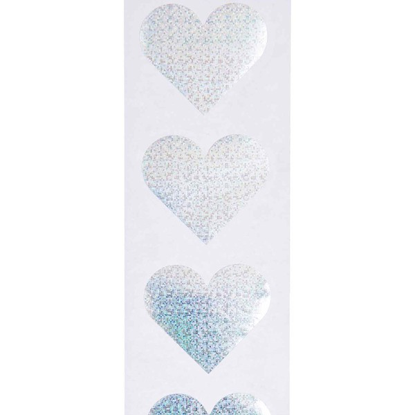 Stickers - Coeur - Argent - Holographique - 5 cm - 120 pcs - Photo n°2