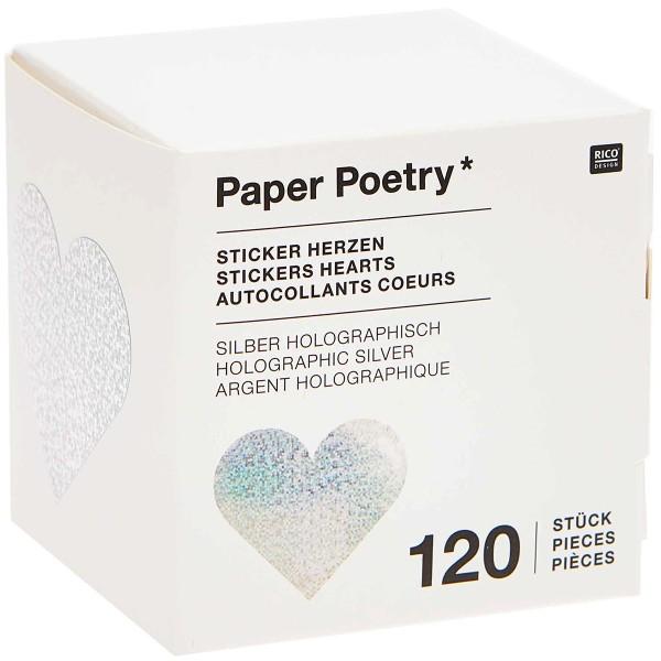 Stickers - Coeur - Argent - Holographique - 5 cm - 120 pcs - Photo n°3