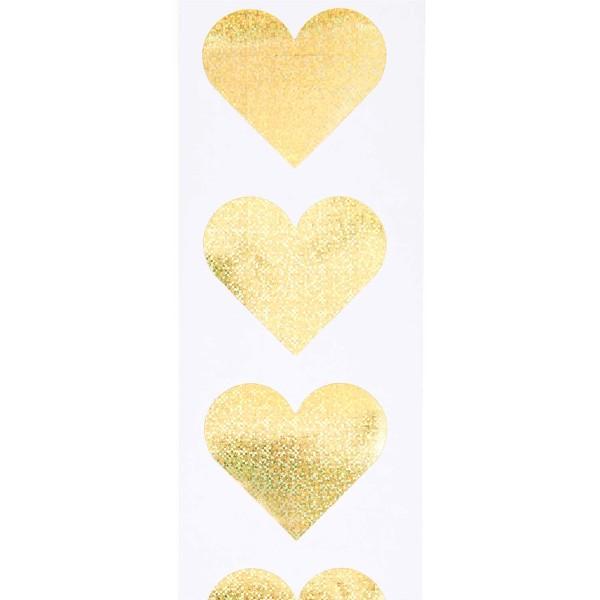 Stickers - Coeur - Doré - Holographique - 5 cm - 120 pcs - Photo n°2