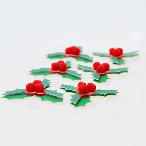 Stickers 3D - Houx - 4,5 cm - 6 pcs - Photo n°2