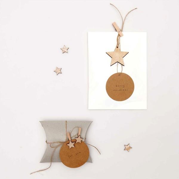 Mini formes en bois - Étoiles - 2 x 1,9 cm - 48 pcs - Photo n°2