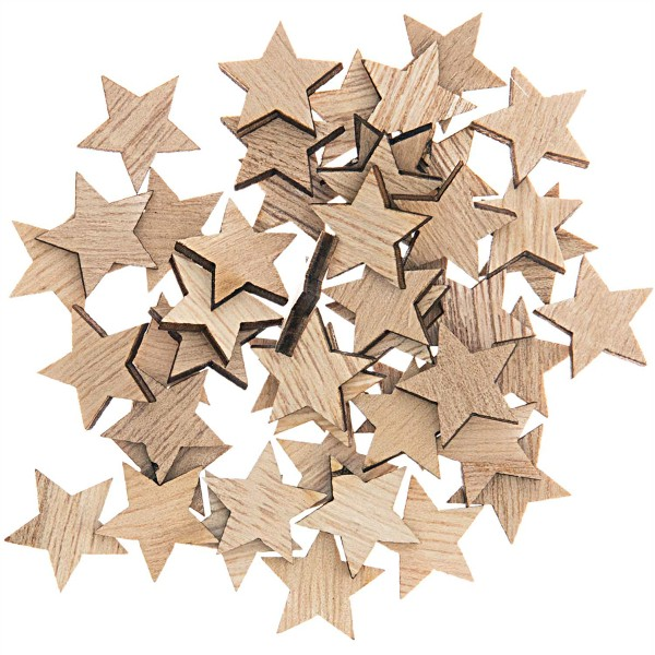 Mini formes en bois - Étoiles - 2 x 1,9 cm - 48 pcs - Photo n°1