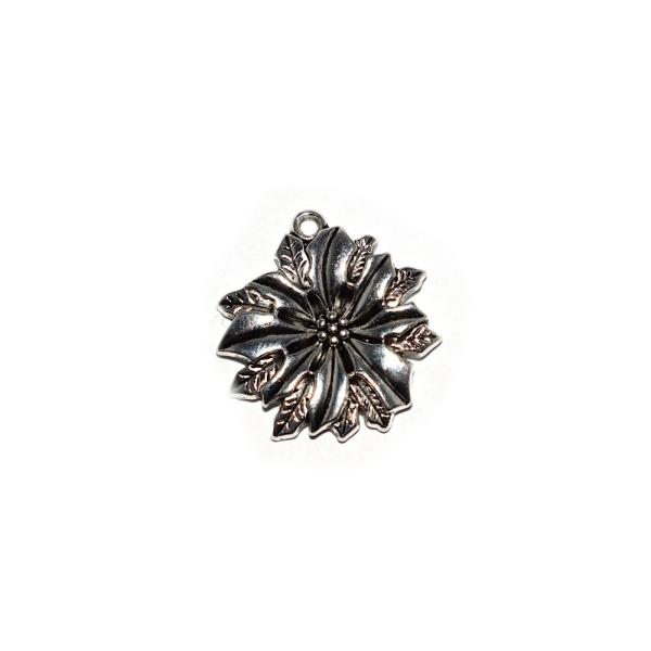 Pendentif fleur avec feuilles 21x20 mm argenté - Photo n°1