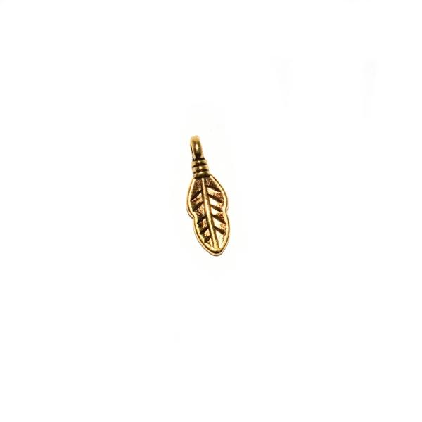Breloque mini plume 16x6 mm doré - Photo n°1