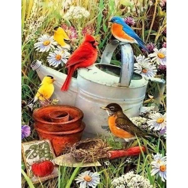 Broderie Diamant - : Oiseaux dans le Jardin 40X50cm - Photo n°1