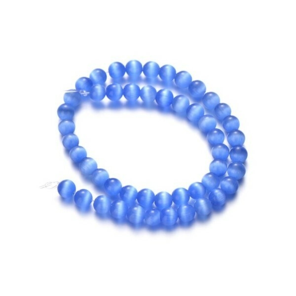 Fil de 63 perles ronde naturelle 6 mm OEIL DE CHAT BLEU MOYEN - Photo n°1