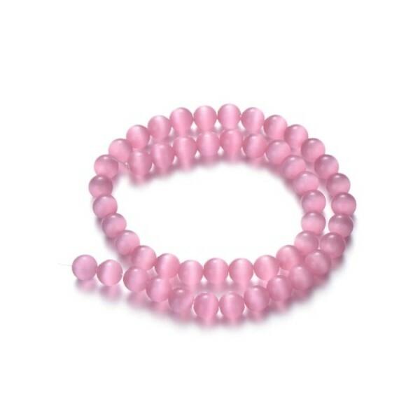 Fil de 63 perles ronde naturelle 6 mm OEIL DE CHAT ROSE - Photo n°1