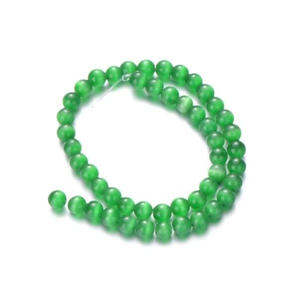 Fil de 63 perles ronde naturelle 6 mm OEIL DE CHAT VERT - Photo n°1