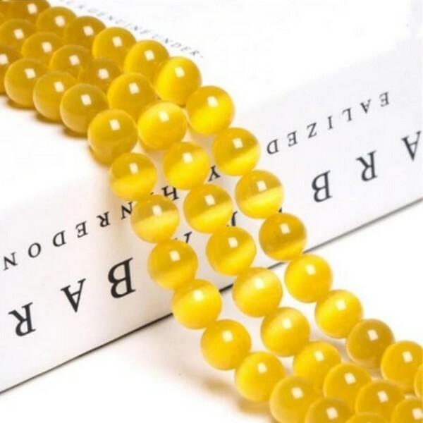 Fil de 63 perles ronde naturelle 6 mm OEIL DE CHAT JAUNE D OR - Photo n°1