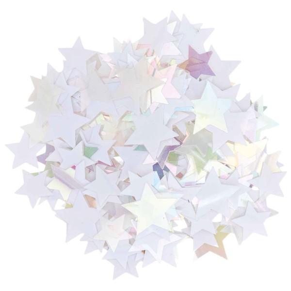 Confettis décoratives - Étoiles - Blanc irisé - De 15 à 20 mm - 200 pcs - Photo n°1