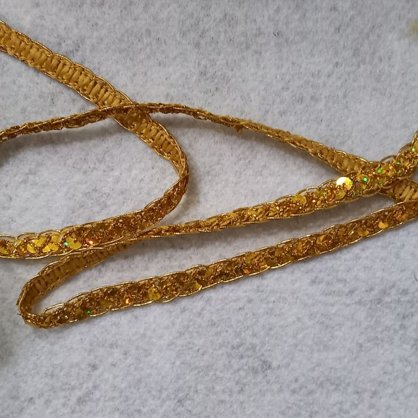 Sachet de 5 mètres de ruban brodé de sequins or - Photo n°1