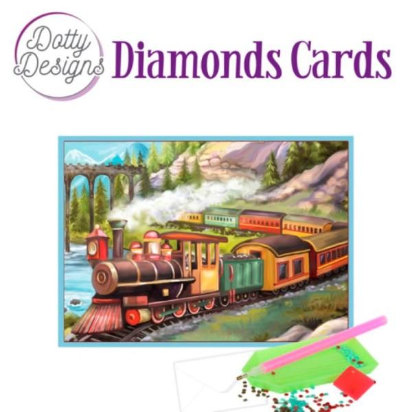 Dotty design Carte Broderie Diamant - Vintage Trains - Photo n°1