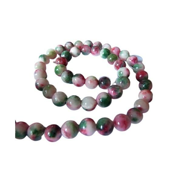 Fil de 47 perles de jade naturelle teintée ronde 8 mm VERT ROUGE - Photo n°1