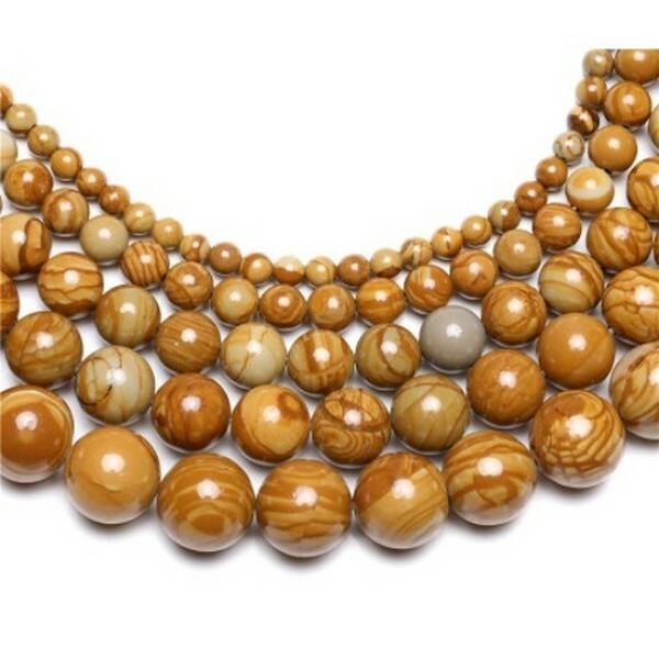 Fil de 58 perles naturelle de bois pétrifié ronde 6 mm - Photo n°1