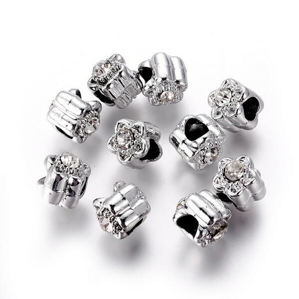 10 perles européenne charm bracelet métal STRASS FLEUR - Photo n°2