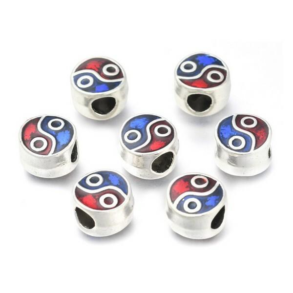 10 perles européenne charm bracelet métal émaillé DECORATION - Photo n°2