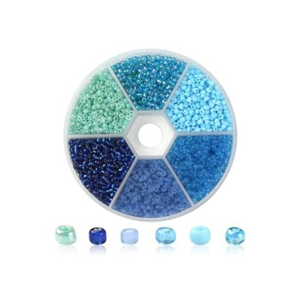 Boite de perles de rocaille 3 mm 6 coloris assortis BLEU - Photo n°1