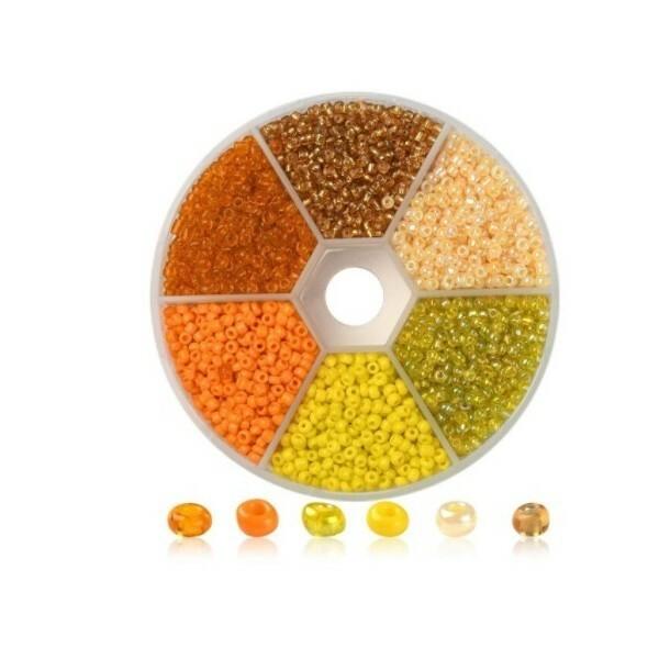 Boite de perles de rocaille 3 mm 6 coloris assortis ORANGE JAUNE - Photo n°1