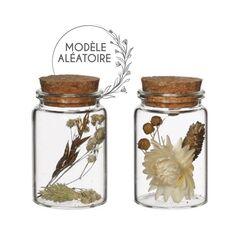 Pot en verre décoratif Fleurs séchées - Blanc, Doré & Naturel - 7,5 x 4,5 cm - 1 pce
