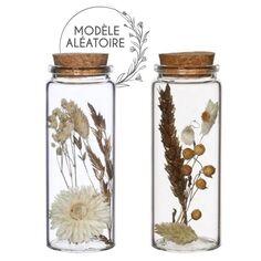 Pot en verre décoratif Fleurs séchées - Blanc, Doré & Naturel - 12,5 x 4,5 cm - 1 pce