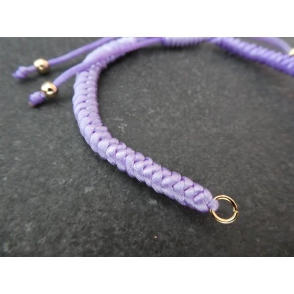 Bracelet à décorer en cordon tressé, réglable, couleur Violet - Photo n°2