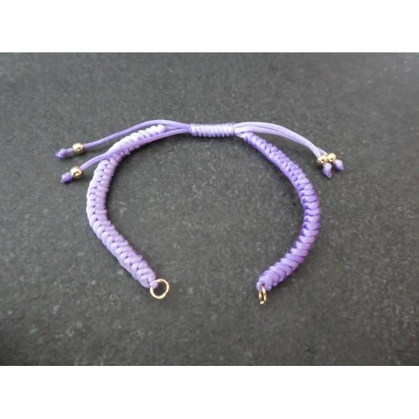Bracelet à décorer en cordon tressé, réglable, couleur Violet - Photo n°1