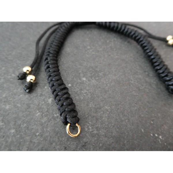 Bracelet à décorer en cordon tressé, réglable, couleur Noir - Photo n°2