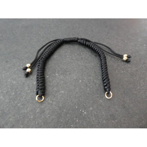 Bracelet à décorer en cordon tressé, réglable, couleur Noir - Photo n°1