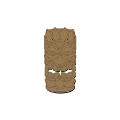 Totem Tikki Plume en bois - 15 x 7,5 cm