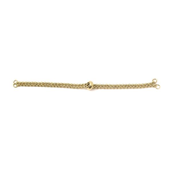 Chaîne d'extension avec perle réglable acier inoxydable doré - Photo n°1