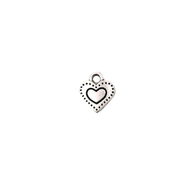 Breloque cœur gravé 7 mm argenté - Photo n°1