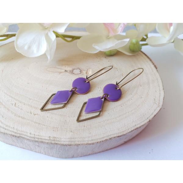 Kit boucles d'oreilles sequin émail violet et connecteur losange bronze - Photo n°2