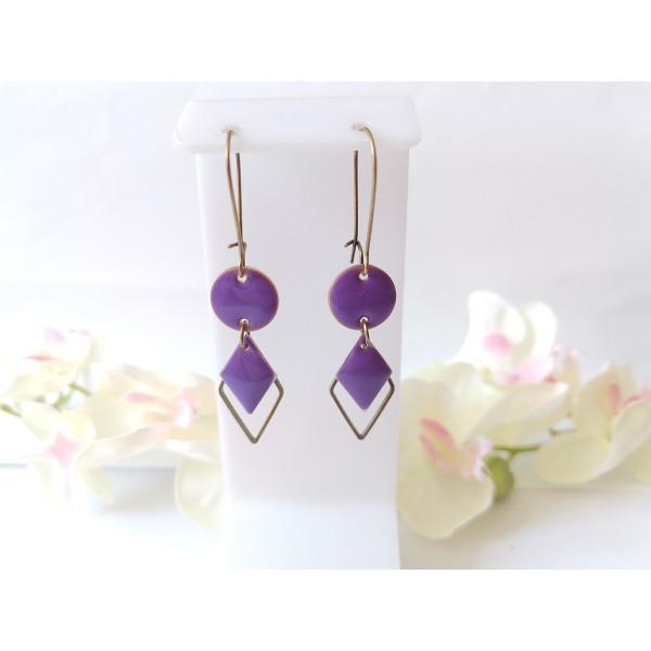 Kit boucles d'oreilles sequin émail violet et connecteur losange bronze - Photo n°1