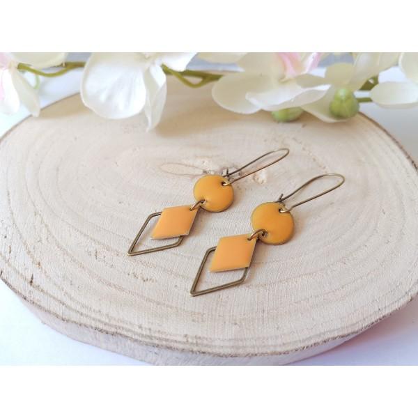 Kit boucles d'oreilles sequin émail orange et connecteur losange bronze - Photo n°2