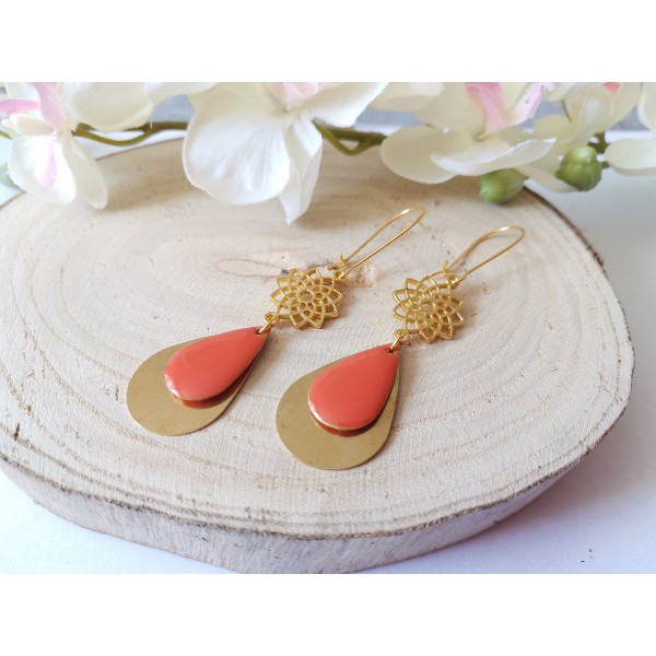 Kit boucles d'oreilles pendentifs dorés et émail orange - Photo n°2